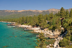 Lake Tahoe scenic. Scenic view of shoreline of Lake Tahoe with Sierra Nevada mountains in background, U.S.A royalty free stock photo