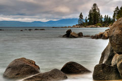 Lake Tahoe Shoals. A long exposure of the rocky shoreline of Lake Tahoe Stock Images