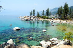 Lake Tahoe shore. Shore at Lake Tahoe with mist Royalty Free Stock Photo