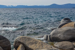 Lake Tahoe shore in winter Royalty Free Stock Photos