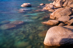 Lake Tahoe Shoreline. A long exposure of the rocks on the shoreline of Lake Tahoe, Nevada Royalty Free Stock Photos