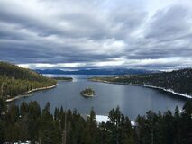 Lake Tahoe in Sierra Nevada Stock Photo