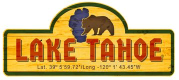 Lake Tahoe Sign Wood Nevada California. Retro vintage NV CA grizzly bear wooden Indian royalty free illustration