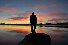 Lake Tahoe Silhouetted person Royalty Free Stock Photography