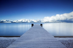 Lake Tahoe Snowy Pier Royalty Free Stock Photos