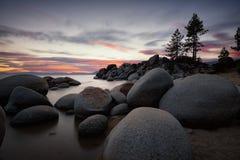 Lake Tahoe solnedgång royaltyfri bild