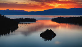 Lake Tahoe sunrise. Sunrise over the Emerald Bay, Tahoe lake, California royalty free stock photos
