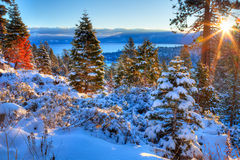 Lake Tahoe. Sunrises over Lake Tahoe in California Stock Photos