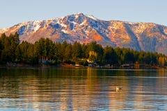 Lake Tahoe at sunset. In winter Stock Image