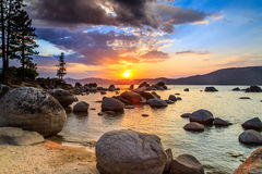 Lake Tahoe sunset. Sand Harbor at sunset, Lake Tahoe royalty free stock photos