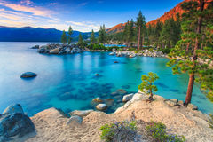 Lake Tahoe at sunset. Sand Harbor beach at sunset, Lake Tahoe royalty free stock images
