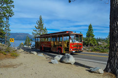 Lake Tahoe Tram. Tourist Tram in lake Tahoe, CA Royalty Free Stock Image