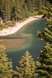 Lake Tahoe Through Trees. With beach area Royalty Free Stock Images