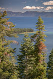 Lake Tahoe Through Trees. With mountains in background royalty free stock images