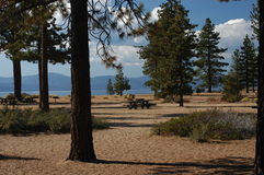 Lake Tahoe. A view off the picnic area at Lake Tahoe with the mountains in the distance Stock Image
