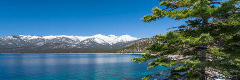 Lake Tahoe. With view on Sierra Nevada mountains stock photography