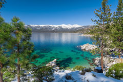 Lake Tahoe. With view on Sierra Nevada mountains royalty free stock images