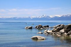 Lake Tahoe. A view of Lake Tahoe and the surrounding mountains royalty free stock photography