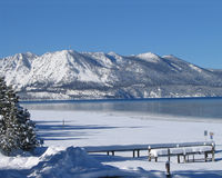 Lake Tahoe in Winter 1. Lake Tahoe Pier after a winter storm Royalty Free Stock Image