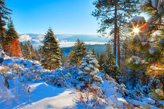 Lake Tahoe. Winter landscape from Lake Tahoe, with Sun star Stock Photo