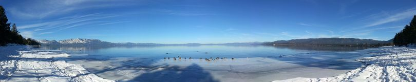 Lake Tahoe in Winter. Lake Tahoe, Nevada, US, Snow, Blue Stock Image