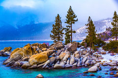 Lake Tahoe Winter. Lake Tahoe, Nevada, USA - December 28, 2015: Lakeside views on the North Shore of Lake Tahoe, near Sand Harbor, and Incline Village royalty free stock photo
