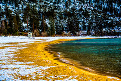 Lake Tahoe Winter. Lake Tahoe, Nevada, USA - December 28, 2015: Lakeside views on the North Shore of Lake Tahoe, near Sand Harbor, and Incline Village royalty free stock image