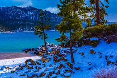 Lake Tahoe Winter. Lake Tahoe, Nevada, USA - December 28, 2015: Lakeside views on the North Shore of Lake Tahoe, near Sand Harbor, and Incline Village stock photos