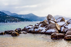 Lake Tahoe Winter. Lake Tahoe, Nevada, USA - December 28, 2015: Lakeside views on the North Shore of Lake Tahoe, near Sand Harbor, and Incline Village royalty free stock photos