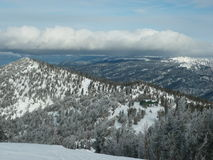 Lake Tahoe in winter. The view while skiing in Lake Tahoe Royalty Free Stock Photos