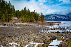 Lake Tahoe Winter Vista. Lake Tahoe, Nevada, USA - December 28, 2015:  Lakeside views on the North Shore of Lake Tahoe, near Sand Harbor, and Incline Village Royalty Free Stock Photos