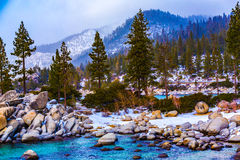 Lake Tahoe Winter Vista. Lake Tahoe, Nevada, USA - December 28, 2015: Lakeside views on the North Shore of Lake Tahoe, near Sand Harbor, and Incline Village stock photography