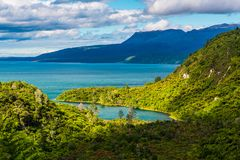 Lake Tarawera, Rotorua, New Zealand stock photography