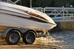 Lake Tarpon Sports Motor Boat. Tampa, FL, March 2018 - Taking out the boat from Lake Tarpon Stock Image