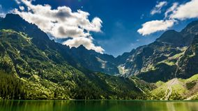 Lake in the Tatra Mountains at dawn stock video