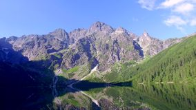 Lake in the Tatra Mountains at dawn, Poland stock video