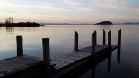 Lake Taupo New Zealand. Sunset over Lake Taupo from Motutere area royalty free stock photos