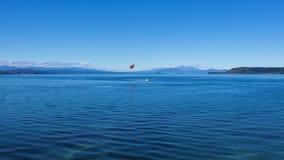 Lake Taupo and volcanoes stock photo