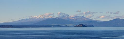 Lake Taupo, volcanoes of Tongariro National Park stock photos