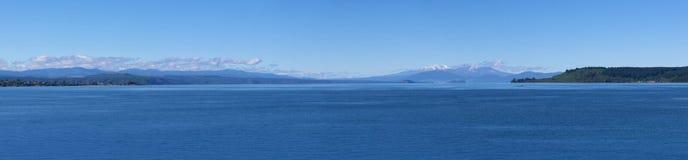 Lake Taupo and volcanoes panorama royalty free stock photos