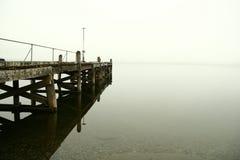 Lake Te Anau in heavy fog Royalty Free Stock Photos