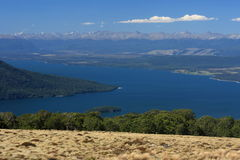 Lake Te Anau with Southern Alps Royalty Free Stock Image