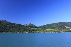 Lake Tegernsee Bavaria. View over the Tegernsee lake in the Bavarian Alps Royalty Free Stock Photo
