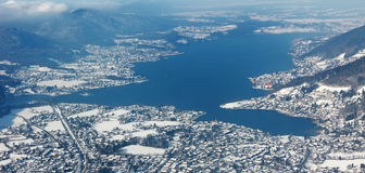 Lake tegernsee, birds eye view from wallberg mountain Stock Images