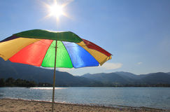 Lake tegernsee, sunshade in rainbow colors Stock Photography