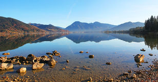 Lake tegernsee with water reflection Royalty Free Stock Photos