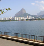 Lake in teh City, Rio de Janeiro. At the lake Lagoa Rodrigo de Freitas Rio de Janeiro, Brasil Royalty Free Stock Images
