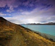 Lake Tekapo. Walking path Lake Tekapo Canterbury New Zealand Stock Image