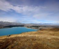 Lake Tekapo. Walking path Lake Tekapo Canterbury New Zealand Royalty Free Stock Photography