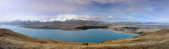 Lake Tekapo. Panorama Lake Tekapo Canterbury New Zealand Royalty Free Stock Photo